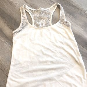 White back lace tank top